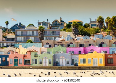 Colorful beach neighborhood in Capitola, California
