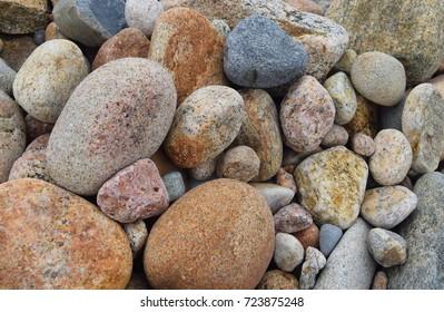 Colorful beach rocks on Block Island, Rhode Island