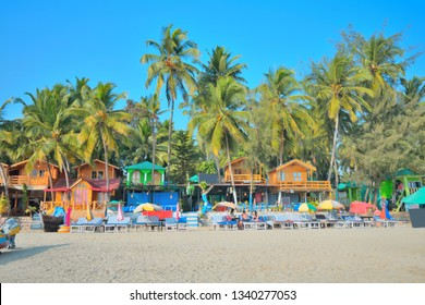 Colorful beach shacks by the Palolem sea beach in Goa.