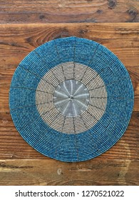 Colorful beaded African design pattern table placemat.