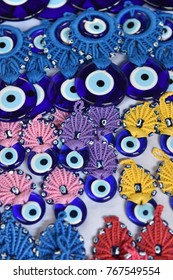 Colorful beads against the evil eye, background