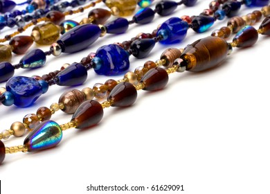 colorful beads background on white