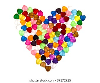 Colorful beads, heart shape on white background