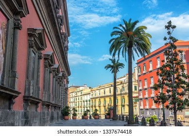 Colorful and beautiful architecture with palm trees in front of the National Archaeological Museum in Naples, Italy