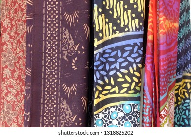 Colorful and beautiful batik fabric. Javanese batik. Indonesian batik.