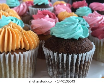Colorful and beautiful cupcakes. A set of delicious sweet desserts with cream.