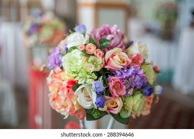 Colorful Beautiful flower wedding decoration in restaurant