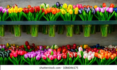 Colorful beautiful fresh flowers for sale on the market in Amsterdam, The Netherlands. The lowest price
