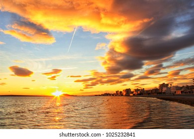 Colorful and Beautiful sky and sea at Sunset in Santa Pola, a small fishing village in southern Spain