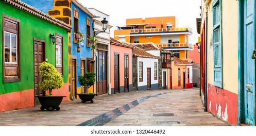 Colorful beautiful  streets of Los llanos de Aridane town. La Palma, Canary islands
