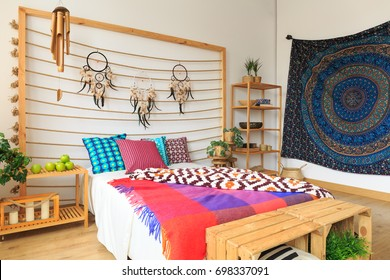 Colorful bedroom designed in ethnic ethereal style