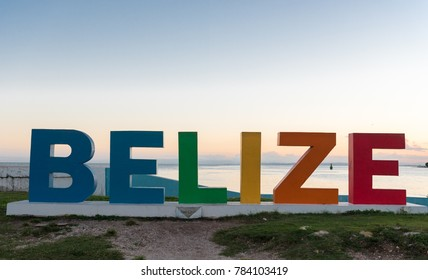 Colorful Belize Name in Front of Caribbean Sea