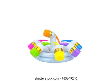 Colorful bidet shower For use in the  toilet on a white background.