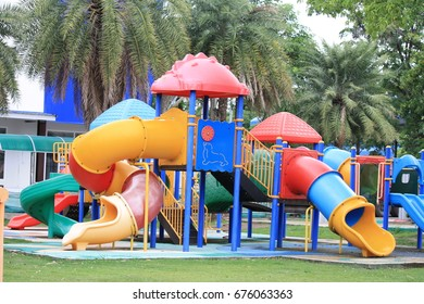 colorful big children playground in the park