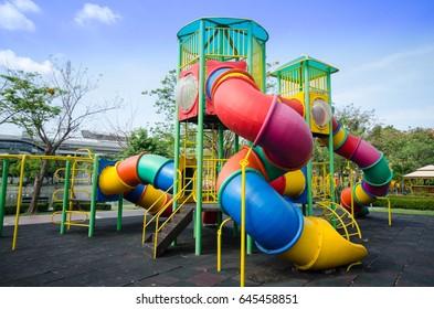 colorful big plastic playground for children  recreation in public park