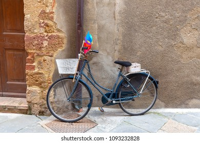Colorful bike parked on the italian street