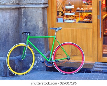 Colorful bike in the street