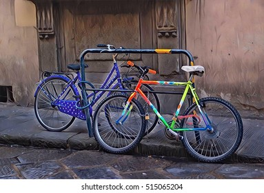 Colorful bikes parked by the road. Street view of European town. Healthy lifestyle in the city. Personal transport. Urban biking. Ecological transport. Sport bike on old street digital image