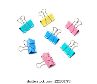 Colorful binder clip isolated on white background