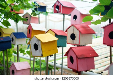 Colorful birdhouse in the garden