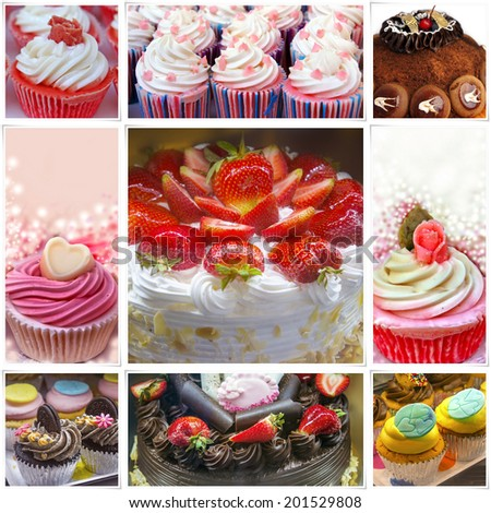 Colorful Birthday Cakes Collage
