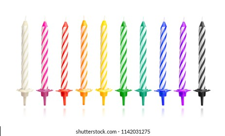 Colorful birthday candles isolated on white background. Celebration party object. ( Clipping path )
