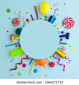 Colorful birthday party flat lay background with copyspace