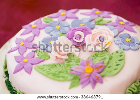 Colorful Birthday Holiday Cake For Childrens Party With Sugar Flowers