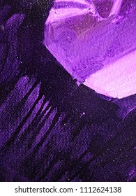 Colorful black, dark slate blue and medium orchid stripes on canvas, textile, paper. Hand drawn brush smears, drips and strokes of oil or acrylic paint. Modern art fragment.