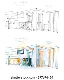 colorful and black and white diptych of a hall and drawing room