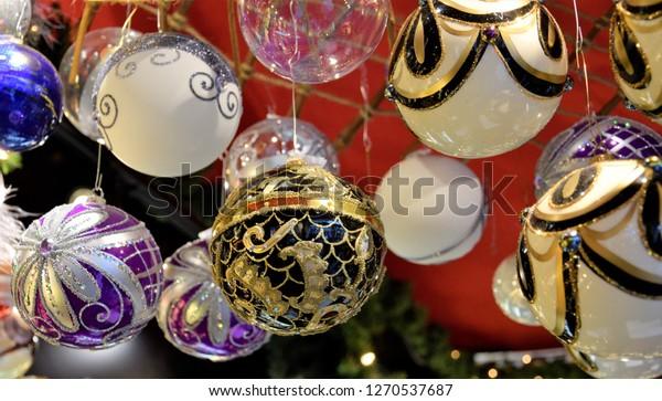 Colorful Black White Purple Christmas Ornaments Stock Photo