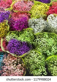 Colorful blooming bouquet of gypsophila, at florist shop