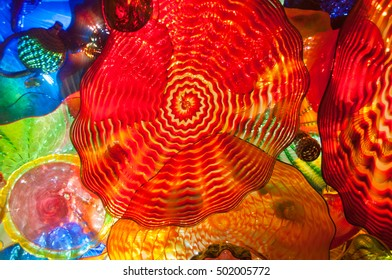 Colorful blown glass ceiling tile at the Chihuly Garden and Glass Exhibit, Seattle, Washington