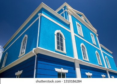 Colorful blue building at Holetown, Barbados.
