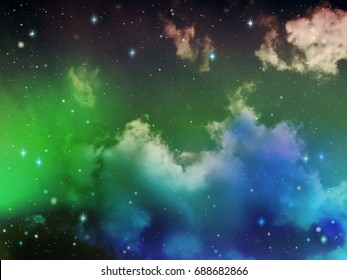 Colorful blue and green light in space night sky with cloud and star, abstract science background