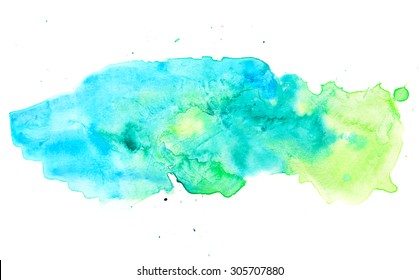Colorful blue green pastel watercolor painting background