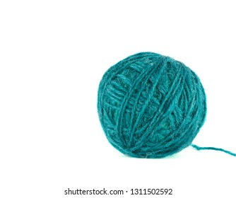 Colorful blue and green yarn ball on white background, isolated, texture.