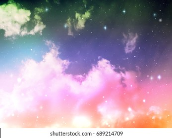 Colorful blue and pink  light in space night sky with cloud and star, abstract science background