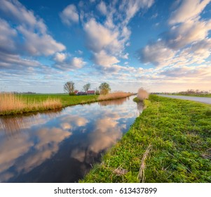 Colorful blue sky with clouds reflected in water, houses near the canal, trees, green grass and yellow reeds at sunrise in Netherlands. Amazing colorful rustic landscape in Holland in spring. Nature