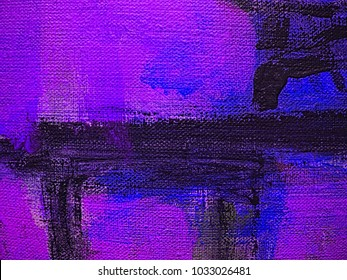 Colorful blue violet, medium orchid and dark slate blue stripes on canvas, textile, paper. Hand drawn brush smears, drips and strokes of oil or acrylic paint. Modern art fragment.