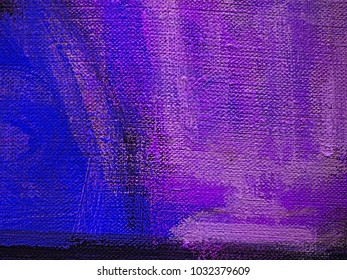 Colorful blue violet, orchid and dark slate blue stripes on canvas, textile, paper. Hand drawn brush smears, drips and strokes of oil or acrylic paint. Modern art fragment.