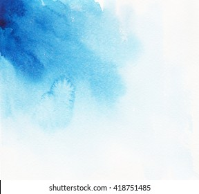 Colorful blue watercolor splash background