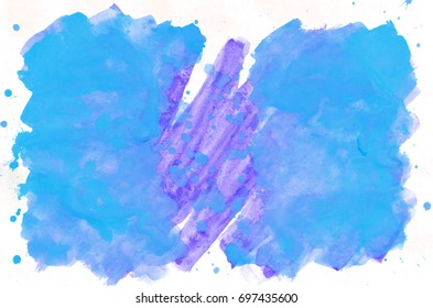 Colorful blue watercolor wet brush paint liquid background for wallpaper. Aquarelle bright color abstract hand drawn paper texture backdrop vivid element for web, print