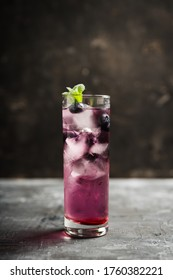 Colorful blueberry cocktail. Selective focus. Shallow depth of field.
