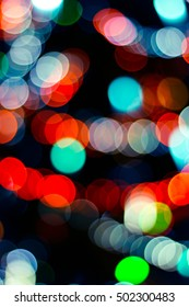 Colorful blurred lights on christmas tree