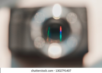 Colorful blurred reflection from a CMOS sensor in a Mirrorless camera