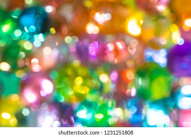 The colorful blurred water beads or water crystal gel use for background