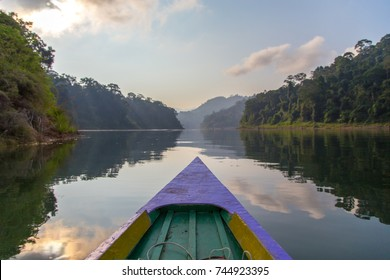 colorful boat travel in halabala forest of yala, thailand