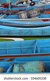 Colorful boats background on the fish market in Bali
