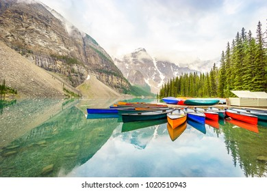 Colorful boats by Moraine Lake, Banff National Park, Alberta, Canada